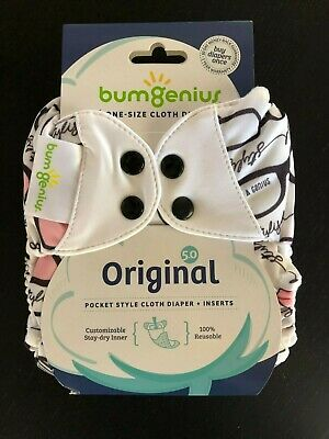 New in Package! bumGenius Original 5.0 Pocket Cloth Diaper With Inserts - Audrey