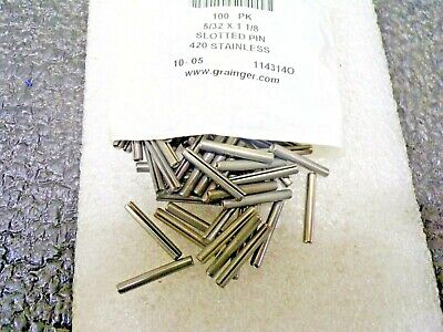 """Stainless Steel Slot Spring Pin, 1-1/8"""" L, Passivated Fastener Finish, 5BE69, RG"""