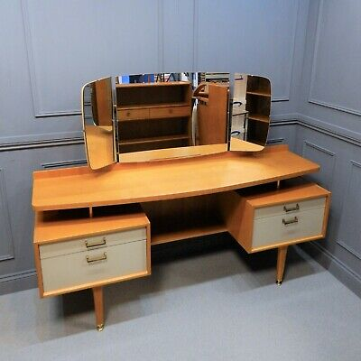 Vintage G Plan E Gomme Dressing Table Desk 1960's Mid Century Modern Oak White