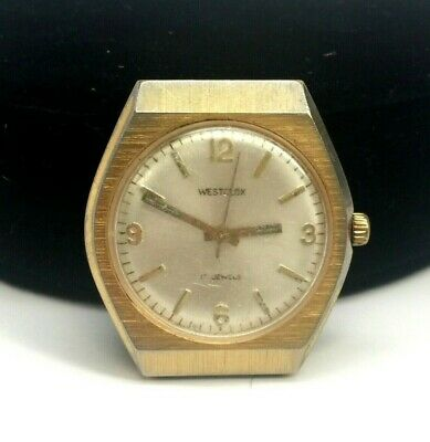 Westclox Men's Swiss Watch Round Gold Tone Case Mechanical Movement  FE 140