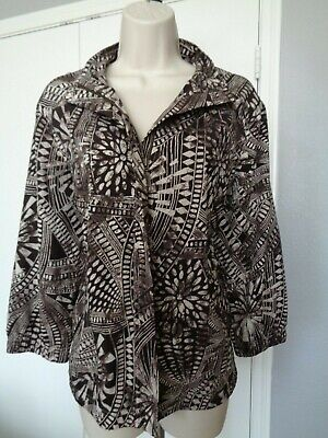 Size 2 Zenergy By Chico's Zip Front Long Sleeve Brown Floral Print Jacket