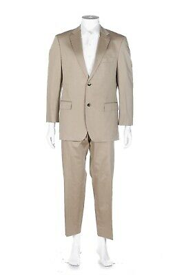 HUGO BOSS 2 Piece Suit 40R Khaki Tan Stretch Dress Pants Blazer Formal Beige