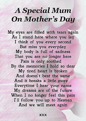 A Special Mum On Mothers Day Memorial Graveside Poem Card & Ground Stake F192