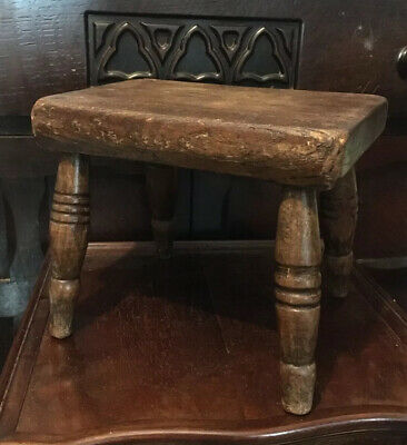 Antique Victorian Elm with 4 Lathe turned legs - 19th Century Milking Stool