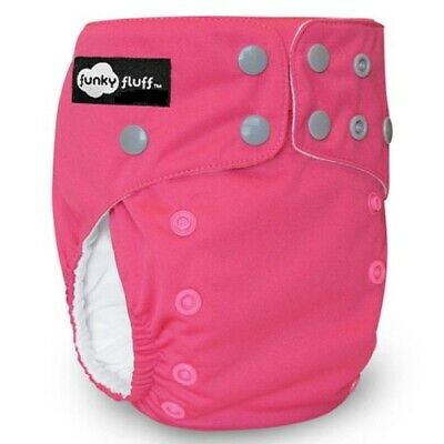 New! Funky Fluff - One Size Bamboo Cloth Diaper - Back to the Fuchsia Pink
