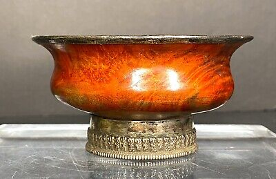 19Th Century Tibetan Burl Wood And Silver Bowl