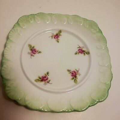 Vintage Royal Stafford Bone China 5 3/8 Inch Plate Green Rim Pink Floral