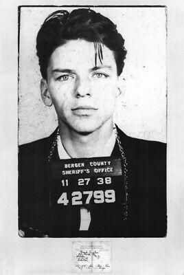 Frank Sinatra Arrest Mugshot Poster 24 x 36 Rat Pack Blue Eyes New