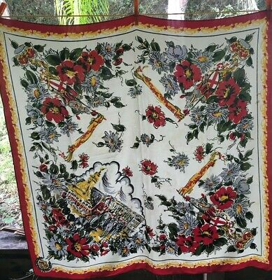 Divine Large Uk Gypsy Chic  Vintage Crepe Floral/Castle Scarf! Gorgeous!