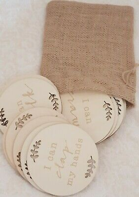 Wooden Milestone Cards Round Newborn Baby Shower Gift 15 Pcs with Hessian Bag