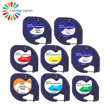 Multipack Plastic Paper Tape 12mm for Compatible DYMO LetraTag Label Makers
