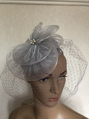 Light Silver Grey Headband Veiled Fascinator Wedding Ladies Race Day