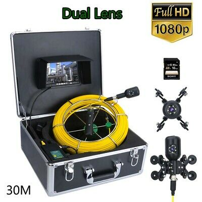 "7"" DVR Dual Sewer Pipeline Industrial Endoscope Pipe Inspection Video Camera 30M"