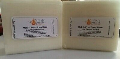 Melt & Pour Soap Base Low Sweat White approx 475g x 2, slightly crushed corners