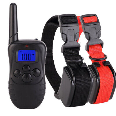 990 Yards 2 Dog Shock Training Collar Pet Trainer Waterproof with Remote Control
