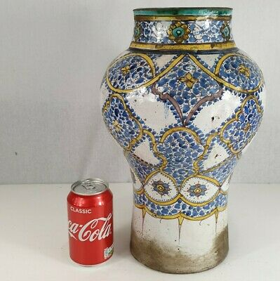 Antique Late 19th Century Large Middle Eastern Stoneware Baluster Vase 36cm