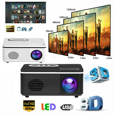 1080P HD LED Mini Projector Full HD Moive Home Cinema Theater Multimedia USB TF