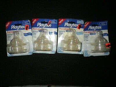 Playtex Precision Flo Wide Silicone Natural Nipples (4) 2 PackS