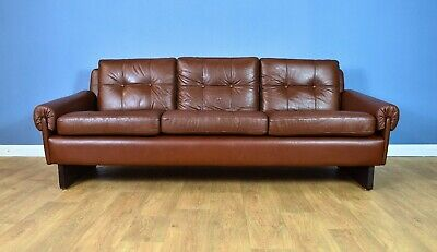 Mid Century Retro Danish Skippers Mobler Cognac Brown Leather 3 Seat Sofa Settee