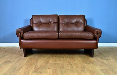 Mid Century Retro Danish Skippers Mobler Cognac Brown Leather 2 Seat Sofa Settee