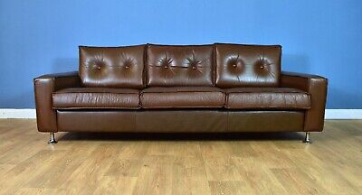 Mid Century Retro Danish Brown Leather & Chrome 3 Seat Sofa Settee 1960s 70s