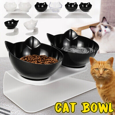 Cat Double Bowls with Raised Stand Pet Food Water Bowl Cats Dog Feeder Non-slip