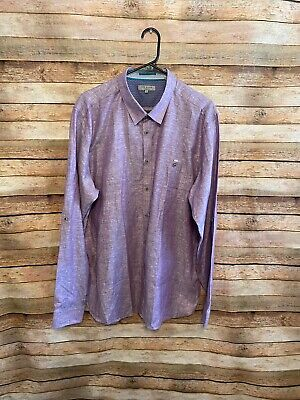 Ted Baker London Mens Linnoo Trim Fit Linen Blend Button Up Shirt 2XL XXL Purple