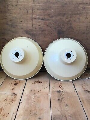 Vintage French Cream Industrial Enamel Pendent Light shades, Mid Century
