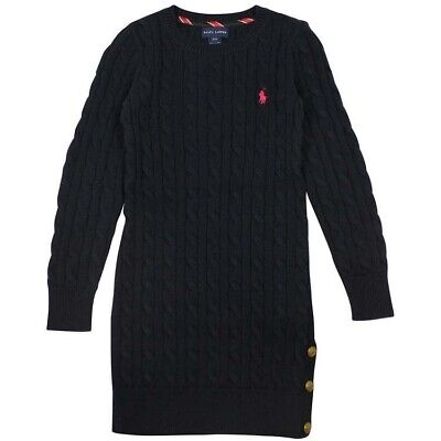 Ralph Lauren Polo Girl's Cable Knit Navy Sweater Dress Size M 8-10 Years Old