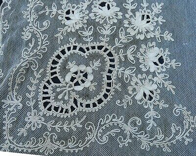 Antique French 2 panel Tambour lace curtains