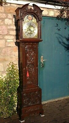 Oak carved,Longcase clock, goth - 'remember to die' on face
