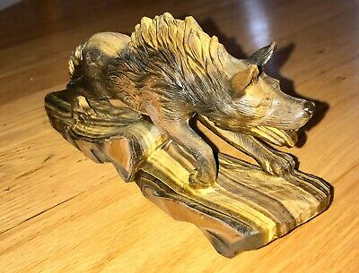 "8.5"" Natural Gemstone Tiger Eye Carved Wolf Statue"