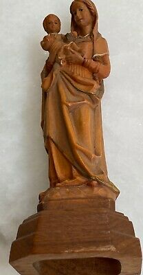 """Vintage 6"""" Finely Carved Wooden Madonna Mary and Child Jesus Germany"""