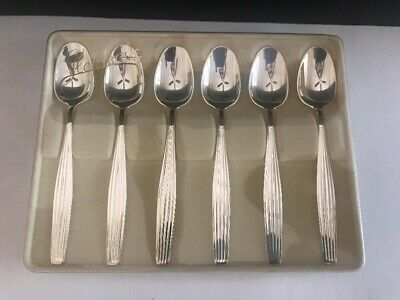 Vintage Boxed Set of 6 Silver 830 Demitasse Spoons J. Tostrup Oslo Norway