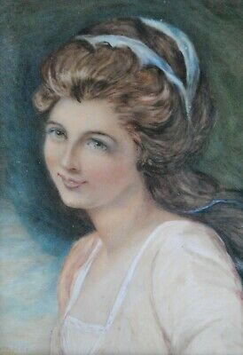Fine Antique Early 20Th Century Watercolour Portrait Painting Of A Lady