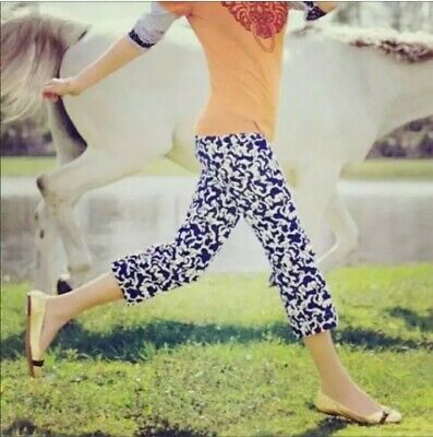 """Lilly Pulitzer""""Horse of Course"""" Cord Capris Women's Size 12 Navy Horse Print EUC"""