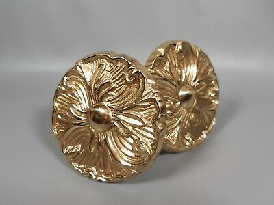 Solid brass pair large wall curtain tieback holdback heavy duty country house