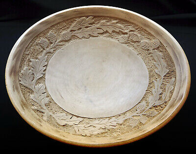 Vintage Munising Wooden Oval Bowl with Carved Oak Leaves and Acorns
