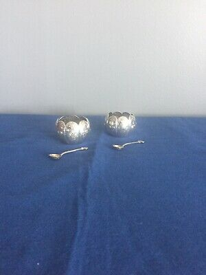 Pair British Sterling Silver Victorian Salt Cellars With Matching Spoons