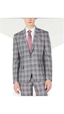 Bar III Men's Slim-Fit Linen Gray Plaid Suit Jacket 46R