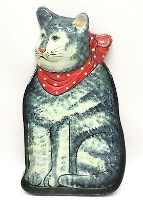 """Vintage Paper Mache Cat Tray Gray Tabby with Red Bow 18"""""""