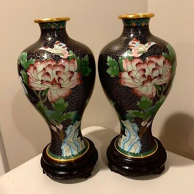 Pair of Vintage Chinese Black Cloisonne Enamel Floral Butterfly Vases w/ Bases