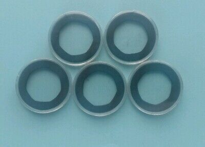5 New Coin Capsules with custom made 7-sided 50p Black [38mm] Foam Inserts