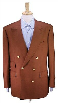 BRIONI Golden Brown 2-Btn Double Breasted Cashmere-Silk Sportcoat Blazer 41R 40R