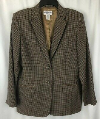 Pendleton Men's Blazer 12 Jacket 100% Virgin Wool Sport Coat Brown Houndstooth