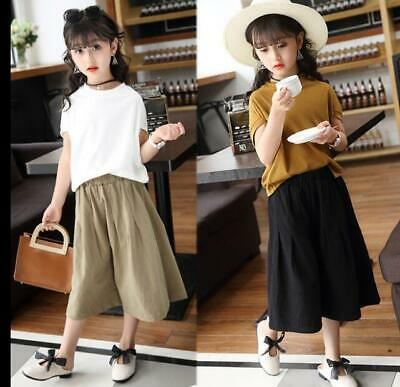 New Summer Kids Child Cotton Tops+Wide Leg Pants Sets Girls Casual Outfits Sets