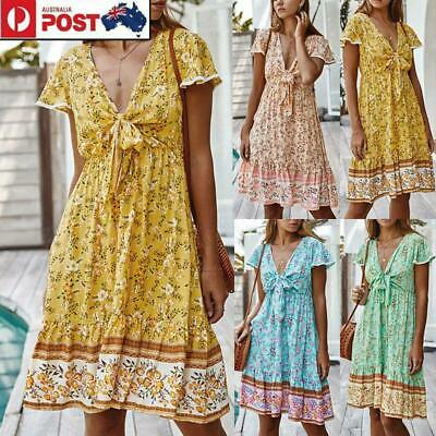 Women Boho Floral Mini Dress Summer T Shirt Dress Sleeveless Dresses Beach Top