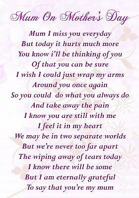 Mum On Mother's Day Memorial Bereavement Graveside Poem Card & Ground Stake F85