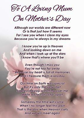 A Loving Mum Mother's Day Memorial Graveside Poem Card & Free Ground Stake F348