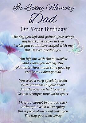 Dad On Your Birthday Memorial Graveside Poem Card & Free Ground Stake F316
